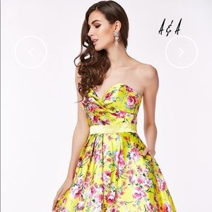 Angela and Alison- Yellow Flower Prom Dress